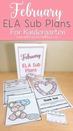 These Kindergarten sub plans are perfect for the month of February! Kindergarten students will love these activities and you can rest easy knowing they are busy with meaningful ELA activities while you are away. Themes in the activities and lessons include: Valentine's Day, Groundhog Day, Black History Month, Chinese New Year, treats, hearts, and more! The monthly themes are so engaging and fun for kids. Kindergarten emergency sub plans, kindergarten sub plans, February worksheets...