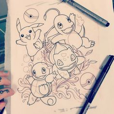 pokemon starters sketch for a tattoo: