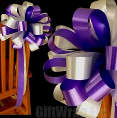 Lavender Table Decorations | 10 Purple Silver Wedding Bows Pew Chair Table Church Shower Party ...
