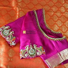 No photo description available. Best Blouse Designs, Simple Blouse Designs, Bridal Blouse Designs, Pattu Saree Blouse Designs, Hand Work Blouse Design, Designer Blouse Patterns, Diana, Trends, Maggam Works
