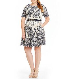 c28f6d49ee9 Eliza J Plus Belted Illusion Contrast Lace Fit-and-Flare Dress