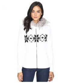 Spyder Soiree Hoodie Faux Fur Mid Weight Core Sweater (White/Black) Women's Sweater