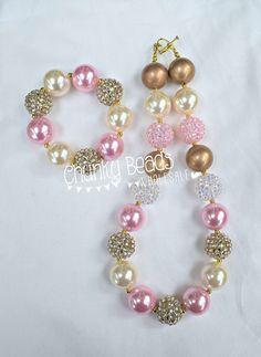 Pink & Gold Bubblegum Beads Necklace & Bracelet from Australian Chunky Beads Wholesale