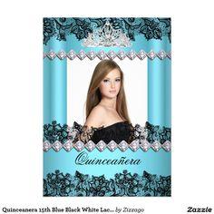 Quinceanera 15th Blue Black White Lace Photo 5x7 Paper Invitation Card