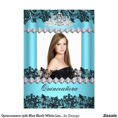Quinceanera 15th Blue Black White Lace Photo 5x7 Paper Invitation Card