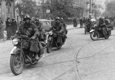 1st October 1939: German motorcyclists on the streets of Warsaw. (Photo by Hulton Archive/Getty Images)