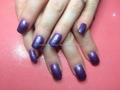 Acrylic mails with purple gel polish