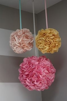 for outside in the trees...all white ones...these are easy to make with tissue paper