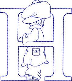 Alfabetos Lindos: Alfabeto riscos ou moldes de letras Sunbonnet Sue bordado Embroidery Alphabet, Embroidery Monogram, Embroidery Fonts, Embroidery Applique, Machine Embroidery Designs, Sunbonnet Sue, Card Patterns, Applique Patterns, Patchwork Quilting
