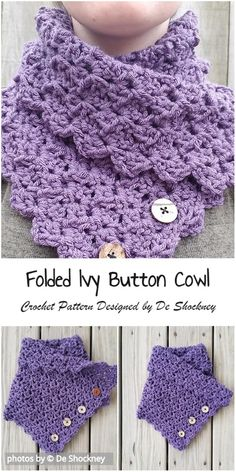 Crochet Folded Ivy Button Cowl Pattern by PatternsValley Crochet Crocodile Stitch, Crochet Cowl Free Pattern, Crochet Motifs, Crochet Shawl, Crochet Stitches, Knit Crochet, Crochet Gifts, Crochet Patterns, Crochet Ideas