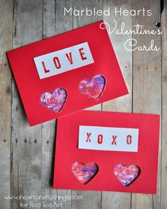 Marbled Hearts Valentine's Day Card | I Heart Crafty Things