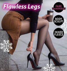 Look Slimmer and Feel Warm with this Flawless Legs Pantyhose - It is not a regular sheer stockings nor opaque leggings. Our Flawless Legs Pantyhose is innovati Pantyhose Outfits, Pantyhose Fashion, Pantyhose Legs, Nylons, Winter Mode Outfits, Winter Fashion Outfits, Look Fashion, Fashion Beauty, Classy Fashion