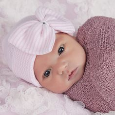 Pink and White Striped Nursery Big Bow Newborn Girl Hospital Hat