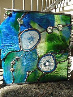 Abstract Stained Glass Transom Window Agate Nuggets Suncatcher Panel Ocean Sea | eBay