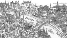 Detail of Illustrated Prespective Map of Budapest