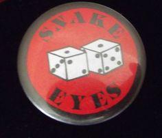 #Snake Eyes #Dice Cubes #Vintage Pinback #Button.