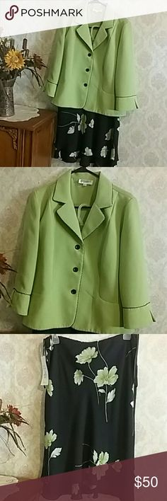 NWT Blazer & Skirt Set Pretty lime green blazer with black trim, beautiful black  with green flowers, layered skirt (see last pic).  Blazer and Skirt are made of100% Polyester, and Machine Wash Cold, tumble dry low. Studio I Jackets & Coats Blazers