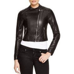 Mackage Misha Cropped Washed Leather Jacket ($660) ❤ liked on Polyvore featuring outerwear, jackets, black, mackage jacket, lined jacket, mackage, genuine leather jacket and leather jacket