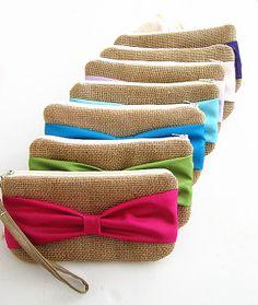 Set of 7 Bow Burlap Clutches burlap clutch bridal by burlapshop, $140.00