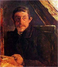 고갱, <이젤 앞의 자화상>, 1885 전체적으로 어두운 인물과 배경의 색감과 표정들이 화가의 힘들었던 시절에 대한 모습을 보여주며, 운명에 대한 체념, 냉소마저 엿보인다.