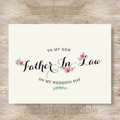 Check out this item in my Etsy shop https://www.etsy.com/listing/194636999/father-in-law-card-mother-in-law-wedding