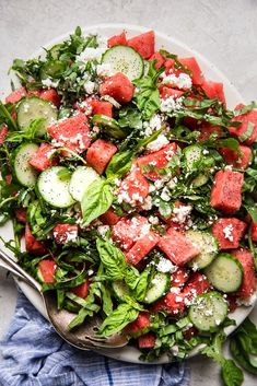 Summertime means watermelon all the time. While it is a perfectly wonderful treat when consumed on it's own, we think adding it to a salad might be our new favorite use for this sweet summer melon. Best Summer Salads, Summer Salad Recipes, Healthy Salad Recipes, Veggie Recipes, Dinner Recipes, Cucumber Salad, Watermelon Salad, Cobb Salad, Caprese Salad