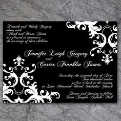 Damask Wedding Invitation... seen it want it... just inverted with white background, black letters. maybe a teal bow