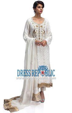 White U Neck Long Shirt with Full-length Sleeve Designer Rozina Munib Dubai Eid Collection 2014