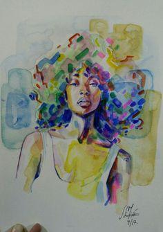 #afrowoman Acuarela. 370g 23x32,5cm (04/2017) Alexandra Sánchez Moreno