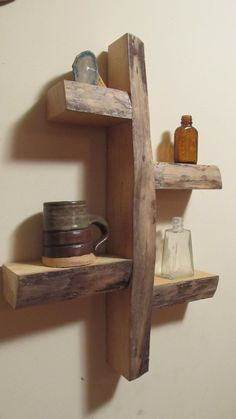 rustic shelves Man we can make this for your Men's Town, Bob. Maybe the shelf's could be a little longer but we have plenty of the wood. Rustic Shelves, Wall Shelves, Wood Shelf, Wooden Shelves, Display Shelves, Wood Wall, Wood Projects, Woodworking Projects, Deco Originale