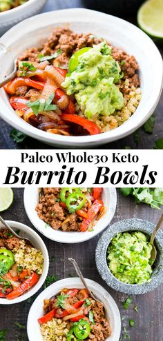 These easy, filling, totally satisfying Paleo Burrito Bowls are packed with spicy seasoned ground beef, sautéed peppers and onions, cauliflower rice and a quick guacamole. Served over fried cauliflower rice with a kick for maximum flavor! Clean Eating Dinner, Clean Eating Recipes, Healthy Eating, Rice Recipes For Dinner, Paleo Dinner, Paleo Whole 30, Whole 30 Recipes, Guacamole, Recetas Whole30
