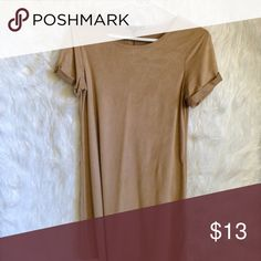 T-Shirt Dress Suede material. Super cute to dress up or casually wear it! 32 1/2 in. long Dresses Mini