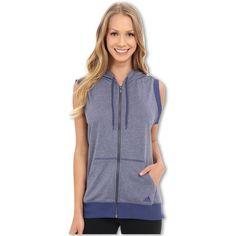 adidas 2Love Sleeveless Hoodie (Raw Purple Heather) Women's Sleeveless ($36) ❤ liked on Polyvore featuring tops, hoodies, grey, zippered hooded sweatshirt, adidas hoodies, gray hoodie, sleeveless hoodie and hooded pullover