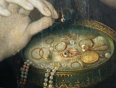 1550-70 School of Fontainebleau, Woman at Her Mirror, detail, Worchester
