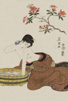 Woman Bathing Under Flowers. Ukiyo-e woodblock print. About 1800, Japan. ArtistUtagawa Toyokuni I