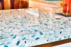 Vetrazzo: Floating Blue recycled glass countertops