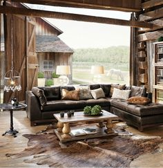 rich, antiqued leather sectional
