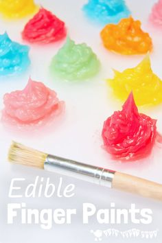 Finally! an easy homemade sensory and edible finger paint, 3 ingredient recipe using water, cornstarch, and gel food coloring.