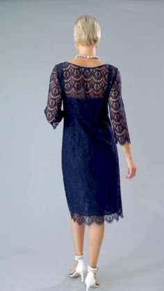 Knee Length / Tea Length Navy Blue pure silk and lace with sleeves is classic and elegant for the mother of the bride/ groom for a cocktail, beach, boho, country, rustic, formal wedding and rehearsal dinner in Spring/ Summer and Fall/ Winter   Mother of the Bride / Groom Dresses #livingsilk #celebrateinsilk #puresilk #motherofthebridedresses #motherofthegroomdresses #weddingideas #weddings Mother Of Bride Outfits, Mother Of Groom Dresses, Bride Groom Dress, Mother Of The Bride, Formal Wedding, Chic Wedding, Wedding Ideas, Plus Size Fashion, Curvy Fashion