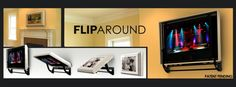 Flip-Around TV Mount by HVTVmounts.com:   Mount a TV on one side, picture on the other. Flips 180 deg so you can watch TV or hide it easily