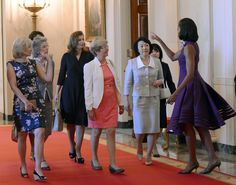 G-8 wives Laureen Harper, Elsa Monti, Valerie Trierweiler, Geertrui Windels, Hitomi Noda, Michelle Obama gather for a tour of the White House and lunch. Love the First Lady's purple dress with full skirt.