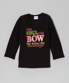 Look what I found on #zulily! Black 'Bigger the Bow' Long-Sleeve Tee - Infant, Toddler & Girls by Under The Hooded Towels #zulilyfinds