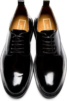 Black patent leather military dress shoes