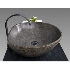 Waschbecken Aufsatz Naturstein Findling Waschtisch Bad Handwaschbecken Ø 40 cm | eBay