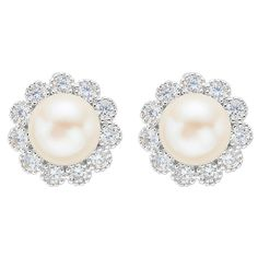 EVER FAITH® 925 Sterling Silver 8MM AAA Freshwater Cultured Pearl CZ Elegant Sunflower Stud Earrings Clear -- Check out the image by visiting the link.