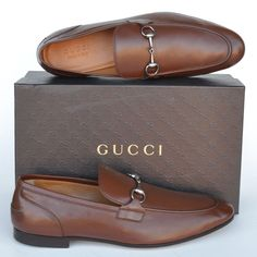 GUCCI New sz UK 9.5 - US 10.5 Horsebit Mens Leather Dress Loafers Shoes Brown #Gucci #LoafersSlipOns