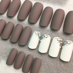New! Gray Long Squoval Faux Nails in Matte finish with some beautiful rhinestone accents