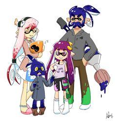 [MoePP][ A happy squid family (Inklings from Splatoon) Splatoon Squid, Splatoon Memes, Nintendo Splatoon, Splatoon 2 Art, Splatoon Comics, Otaku, Hugs And Cuddles, Nintendo Characters, Super Smash Bros