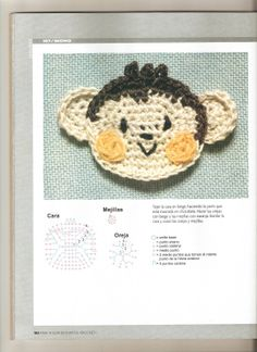 Crochet monket applique - page to be translated but has diagrams Crochet Bookmark Pattern, Crochet Bookmarks, Crochet Stitches Patterns, Crochet Chart, Crochet Motif, Crochet Designs, Crochet Flowers, Stitch Patterns, Crochet Home