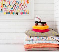Castle and Things bedding - for those who love pink and yellow and orange and fluro and spots and fun.